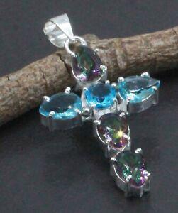 "925 Sterling Silver Mystic Topaz & Topaz Gemstone Jewelry Cross Pendant S-1.80"""