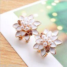 New Women Lady Fashion Elegant Pearl Crystal Rhinestone Ear Stud Earrings 1 Pair