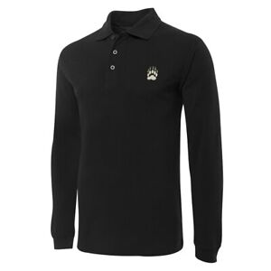 Bear Claw Embroidery Long Sleeve Polo Shirts Embroidered Mens Shirts