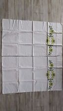 Vintage Pair Green Floral Cross Stitch Pillowcases