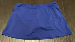 LANDS' END 12 Royal Blue Swim Skort Bikini With Attached Skirt EUC