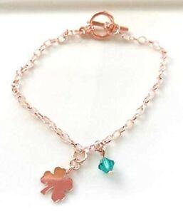 Friendship Charms Bracelet, Rose Gold Plated Clover Charm Bracelet