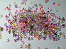 10g Clear Glass Seed Beads - Colour-Inside - Mixed Sizes/Mixed Colour