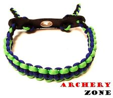 Blue and Neon Green w/  Black  Bow Paracord Wrist Sling Strap Archery W/ Leather