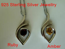 925 Sterling Silver natural stone pendant/necklace/chain (Ruby/Amber) NWT