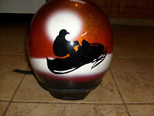 1978 MONARCH SNOWMOBILE MOTORCYCLE ORANGE METALFLAKE HELMET SMALL KOOL GRAPHICS