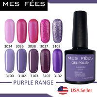 Purple Color Gel Nail Polish Soak Off Shiny UV/LED Lamp Salon Nail Art MES FEES