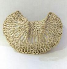 Womens Wooden Bead Purse Satchel Shoulder Bag Small White Tan JARFF