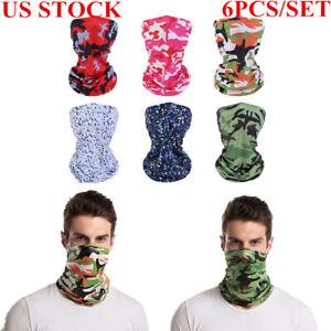 6 PACK Face Mask Balaclava Scarf Neck Shield Sun Gaiter Ski Bandana Tube Biker