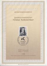 TIMBRE FDC ALLEMAGNE  BONN OBL ERSTTAGSBLATT OSKAR KOLOSCHKA  1986