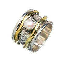 Pearl Ring 925 Sterling Silver Spinner Ring Meditation Statement Jewelry A230