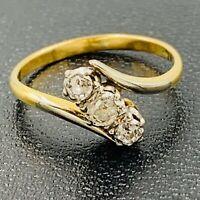 Art Deco 18ct Gold Platinum Set Diamond Trilogy Ring sz K #735