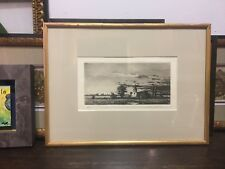 Antique Engraving of Holland Church with Gold Frame
