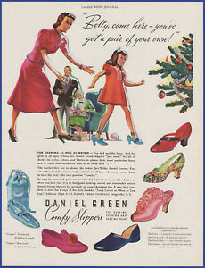 Vintage 1937 DANIEL GREEN Comfy Slippers Shoes Christmas Holiday 30's Print Ad