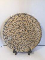 RRP Co.Roseville Ohio Blue Spongeware Splatter Large Round Serving Platter Tray