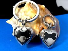 "Dog Cremation Pendant Urn Keychain 1"" Key Ring for Ashes Pet Bone In My Heart"