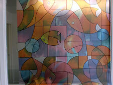 STAINED GLASS EFFECT GOLDFISH FROSTED WINDOW FILM - 90cm x 1m Roll WT072