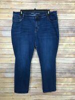 Old Navy Womens 20 Mid Rise Curvy Straight Leg Jeans Stretch Medium Wash Denim
