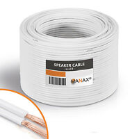 LAUTSPRECHERKABEL 100% CCA KUPFER BOXENKABEL AUDIOKABEL WEISS 50m 2x4 mm² Audio