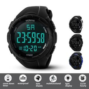 Military Gym Sports LED Large Face Digital Watch Screen Large Face Waterproof