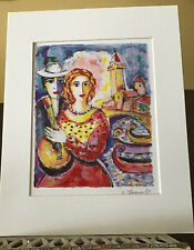 "Zamy Steynovitz ""Beauty & Beau"" Embellished Lithograph Signed Multicolor 11x14"""