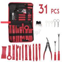 US 31X Car Trim Removal Tool Hand Pry Bar Panel Door Interior Clip Kit + Bag Red