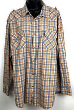Galaxy by Harvic womens l/s snap front shirt 2XL snap front orange plaid
