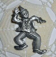 Vintage JJ Signed Articulated Clown Brooch Pin Jonette Jewelry Pewter Legs Move