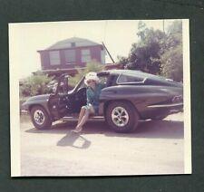 Vintage Color Photo Mod Go Go Girl in 1965 Chevrolet Corvette Sports Car 406064