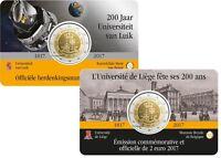 2 Euro Gedenkmünze Belgien 2017 Universität Lüttich Coincard