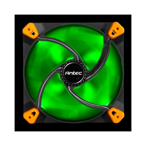 Antec True Quiet 120mm x 25mm GREEN LED Case Fan Built In Silicon Toolless Mount