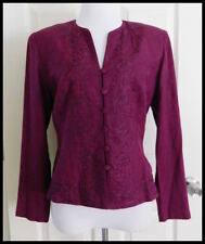 BEADED EMBROIDERED TUNIC BLOUSE~WOMENS SIZE 8 MEDIUM~BURGUNDY~PERFECT CONDITION