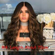 (Hair Net Gift)Blonde/Brown Curly Wig Long Ombre Gradient Full Wigs