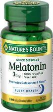 Natures Bounty Melatonin 3mg Quick Dissolve Tablets, 240 Count -Exp. 05-2019-