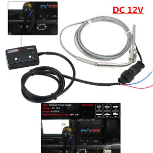 12V LED Digital Display Part w/Sensor Pyrometer Car Refit Exhaust Temp Gauge Kit