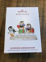 2019 Hallmark Sledding Shenanigans Ornament Penguins Keepsake New