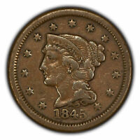 1845 1c Braided Hair Large Cent - VF Coin - SKU-Y2713
