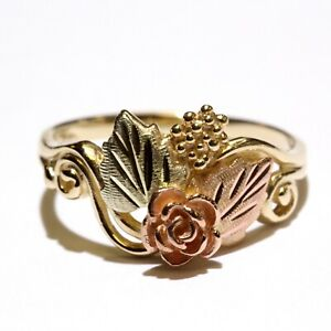 10k yellow rose green gold tri color rose leaf ladies ring 2.7g womens 8