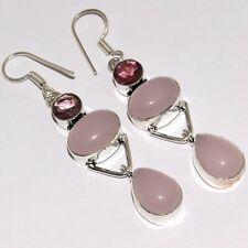 """Silver Plated Earrings 2.6"""" Mm-37756 Chalcedony Garnet 925"""