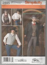 Simplicity Pattern 2895 Men's Western Costumes - Frock Coat Shirt Pants Sz 38-44