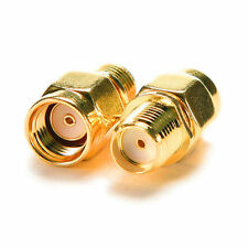 RP SMA Male Plug to SMA Female Jack WiFi Antenna Extender Adapter Gold x 10