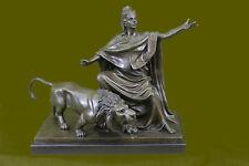 Bronze Marble Statue Britannia Military Goddess Lion Sculpture FigurineDB