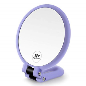1x 15x Magnifying Hand Held Mirror ,Double Side Folding Magnification Hand for