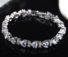 Austria Crystal Heart diamond Bracelet hand chain 18K White Gold GP for Wedding