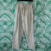 Free People Khaki Margate Pleated Paperbag Trousers Women's Size Large