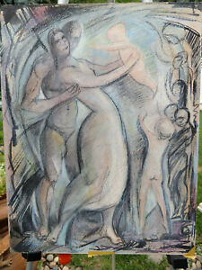 Vintage 1990 nude study  muted chalk pastels Mother Father Birth signed Princess