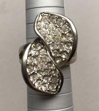 Silver Sparkling Diamante Rhinestone Large Swirl Leaf Statement Ring Size P