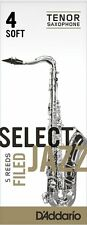 1 Box of 5 D'Addario/Rico Select Jazz Reeds Filed Tenor Sax 4-Soft 4S RSF05TSX4S