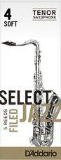 1 Box of 5 D'Addario/Rico Select Jazz Reeds Filed. Tenor Saxophone. 4-Soft (4S).