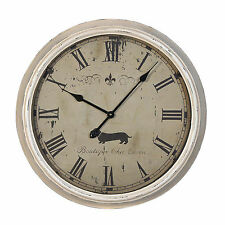 Shabby Chic Crema di grandi dimensioni in metallo verniciato finitura Dog Francese Orologio da parete stile Vintage